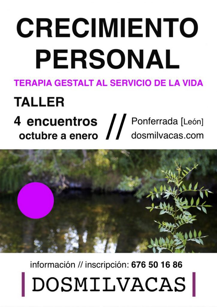 cartel sobre taller de CRECIMIENTO PERSONAL en Dosmilvacas