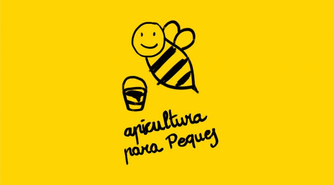 Ilustración de abeja y título del Taller de apicultura de Granja Cando para peques